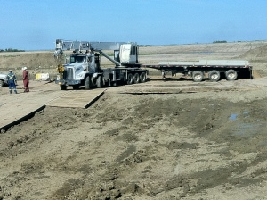 Picker truck arrives right on time.